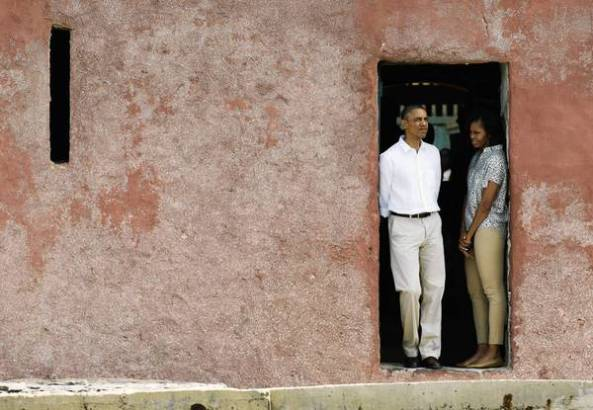 President Obama and First Lady Michelle Obama tour Goree Island slave house